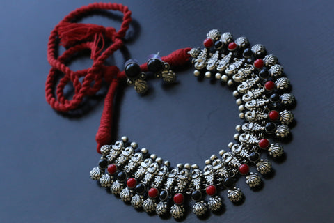 Red Black Peacock Motif Necklace