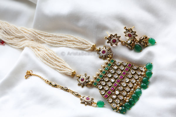 Layered Pearl Chain Kundan Necklace