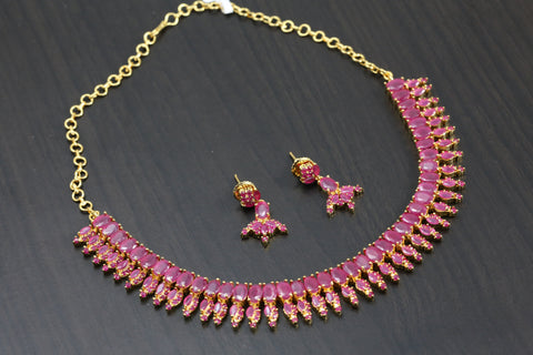 Ruby Pink CZ Necklace