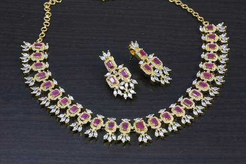 Ruby Pink & Clear CZ Necklace