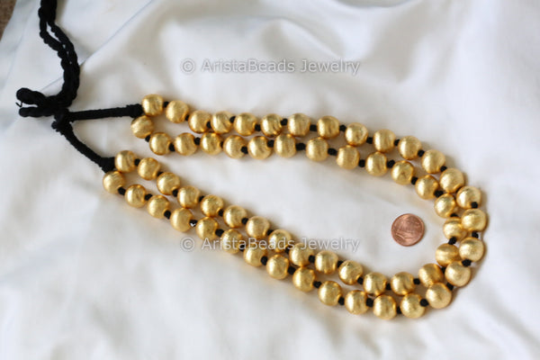 Gold Tone Round Dholki Beads Necklace
