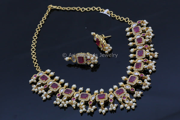 Ruby & Clear Polki Pearl Necklace