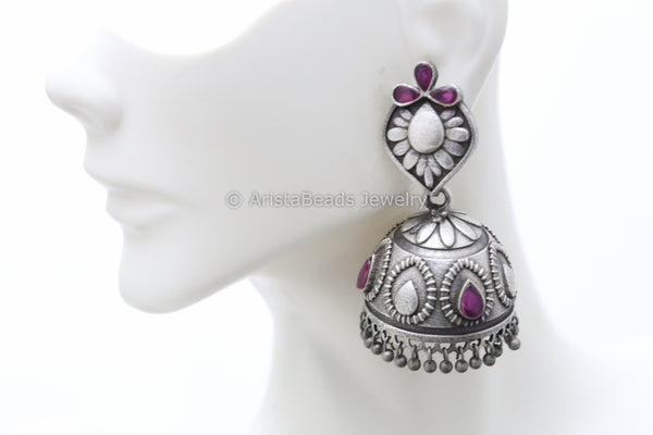 Ruby Silver Plated Jhumka