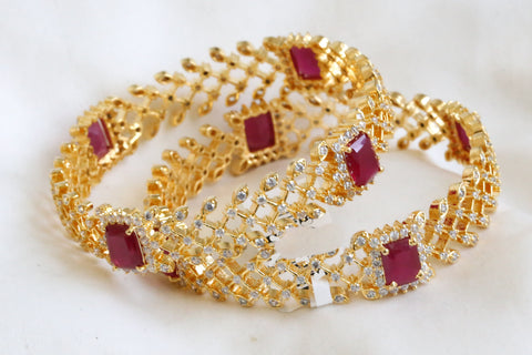 Designer Ruby Filigree CZ Bangle (Set of 2)