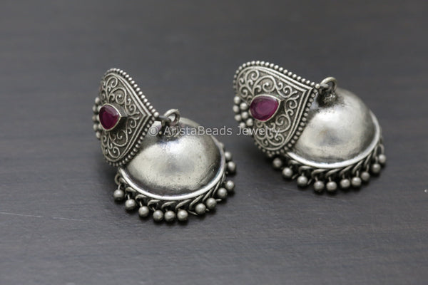 Ruby Leaf Silver Plated Jhumka