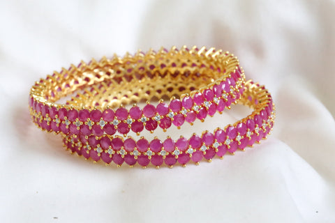 Ruby CZ Bangle (Set of 2)