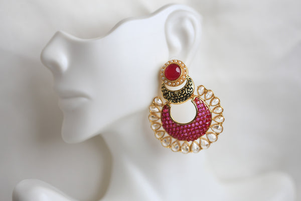 Contemporary CZ Chandbaali - AristaBeads Jewelry - 3