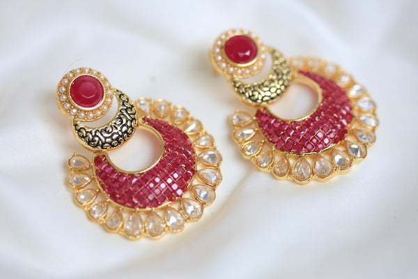 Contemporary CZ Chandbaali - AristaBeads Jewelry - 4