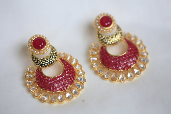 Contemporary CZ Chandbaali - AristaBeads Jewelry - 5
