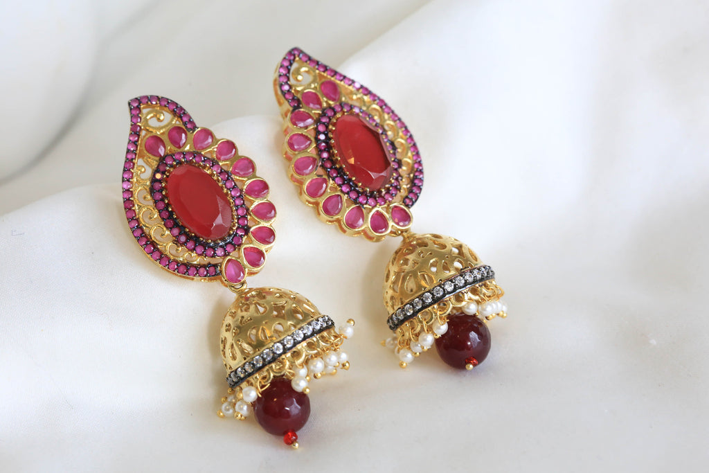 Contemporary Victorian Jhumka - AristaBeads Jewelry - 2