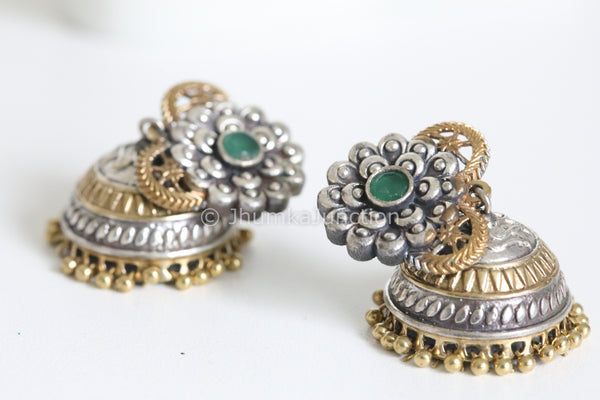 Emerald Flower Two Tone Jhumka