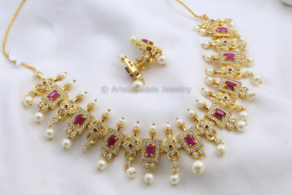 Delicate Ruby Polki & Pearl Necklace