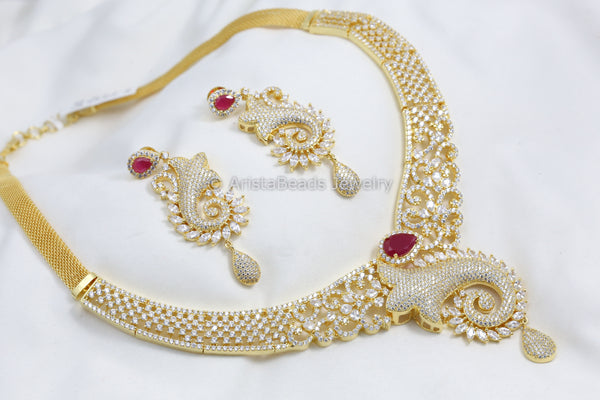 Ruby & CZ Gold Chain Necklace