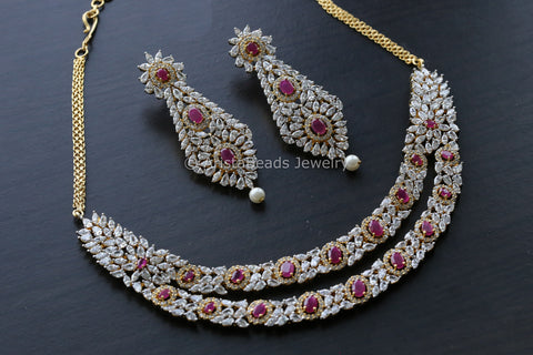 Layered Ruby CZ Necklace