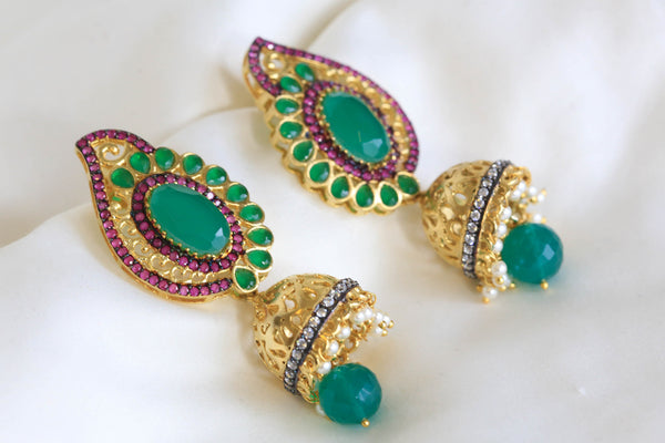 Contemporary Victorian Jhumka - AristaBeads Jewelry - 1
