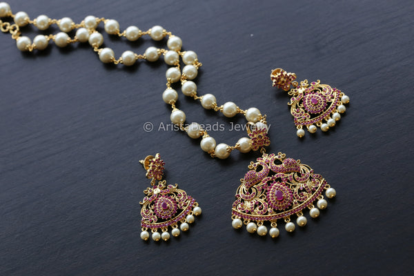 Ruby CZ Pendant Set in Pearl Mala