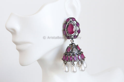 Oxidized Ruby CZ Jhumka Earrings