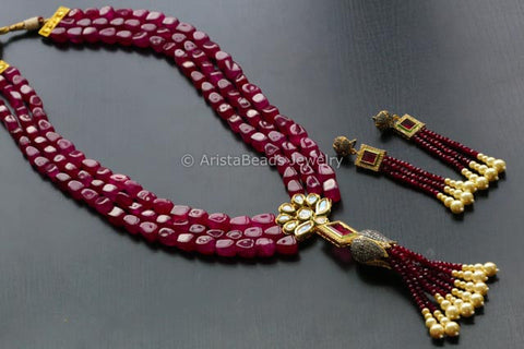 Contemporary Layered Ruby Kundan Necklace