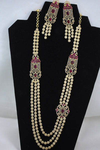 Long Ruby Layered Necklace
