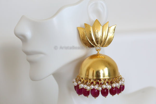 Large Matt Gold Ruby Jhumka