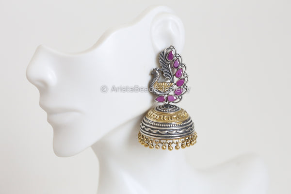 Ruby Pink Two Tone Jhumka