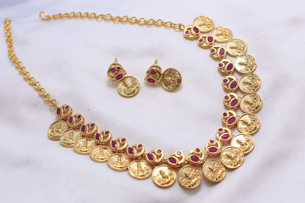 Kasu Lakshmi Coin Choker Necklace - AristaBeads Jewelry - 1