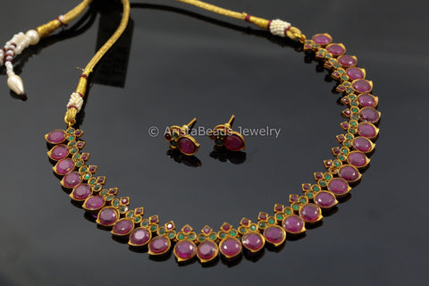 Delicate Ruby Emerald Polki Necklace