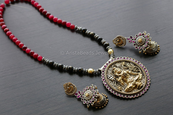 Ruby Black Dual Tone Shiva Necklace Set