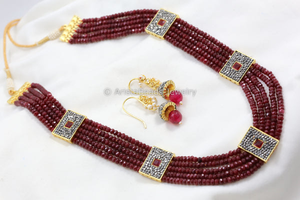 Contemporary Ruby Victorian Layered Necklace