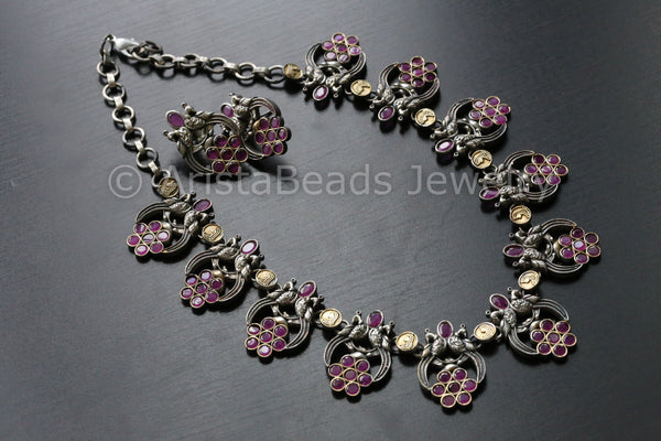 Ruby Dual Tone Peacock Necklace