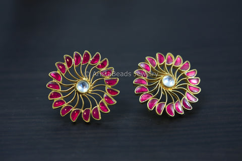 Extra Large 925 Silver Ruby Kundan Studs