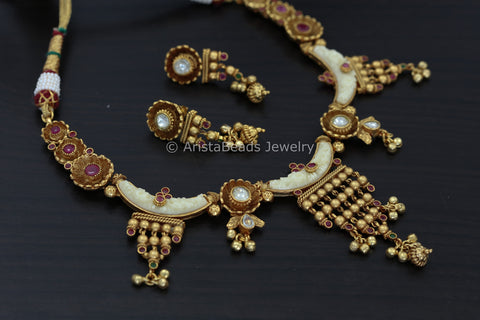 Delicate Antique Gold Ivory Necklace Set