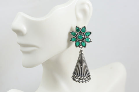 Silver Look Jhumka - Green