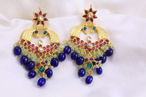 Silver Look Handmade Kundan Earrings