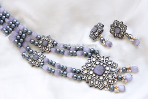 Victorian Kundan Necklace - Gray