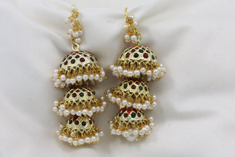 Long Layered Jadau Jhumka