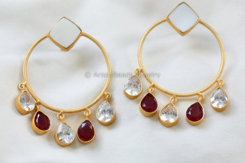 Contemporary CZ Drop Earrings - Red