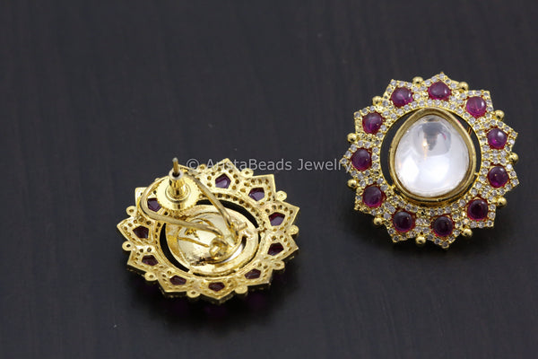 Large Gold Finish Kundan Earrings