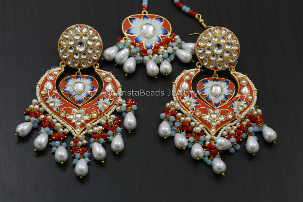 Enamel Kundan Chandbaali- Colors Available
