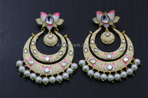 Enamel Lotus Chandbaali- Colors Available