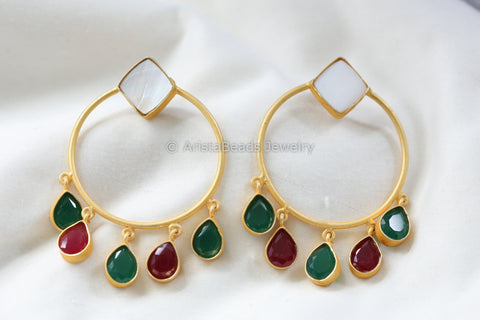 Contemporary CZ Drop Earrings - Red Green