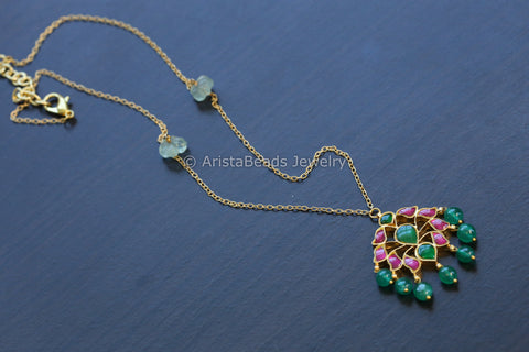 Handmade Delicate Kundan Necklace - Emerald Drops