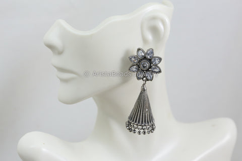 Silver Look Jhumka - Clear