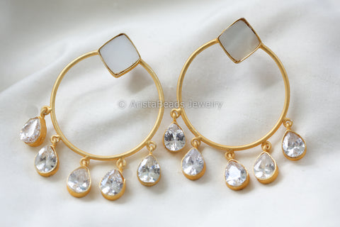 Contemporary CZ Drop Earrings - Clear