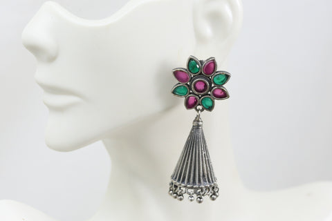 Silver Look Jhumka - Multi
