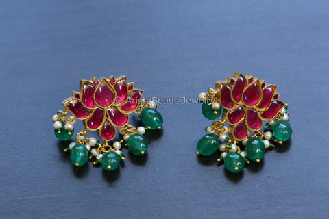 Silver Look Kundan Lotus Earrings