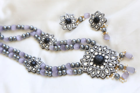 Victorian Kundan Necklace - Black