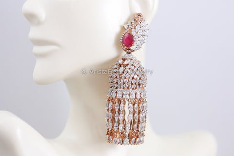 Premium Ruby CZ Jhumka - Rose Gold