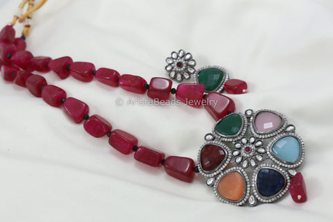 Multicolor Pendant Necklace - Red Mala