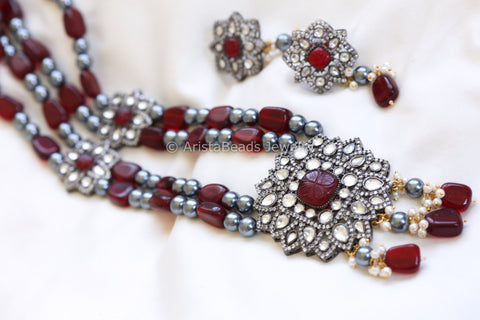 Victorian Kundan Necklace - Red